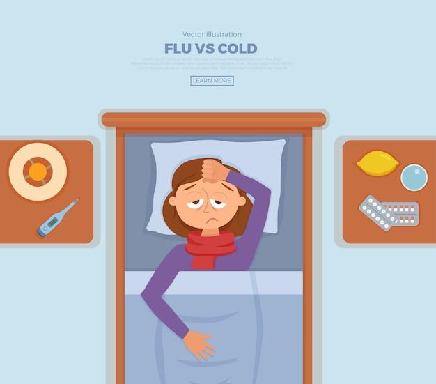 Menina doente na cama com sintomas de resfriado, gripe. personagem de desenho animado no travesseiro com cobertor e lenço, remédio, limão, termômetro. ilustração de uma mulher saudável com febre alta, dor de cabeça.