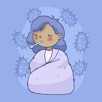 Menina doente, tendo um resfriado