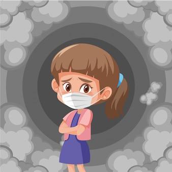 Menina doente usando máscara com fumaça suja