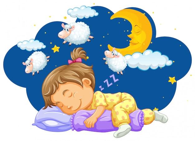 Menina dormindo com a contagem de ovelhas em seu sonho