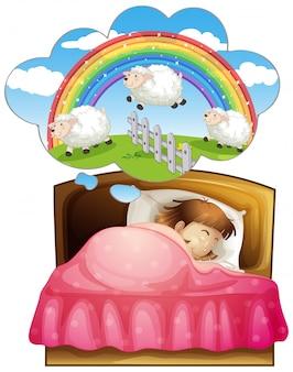 Menina dormindo e contando ovelhas no sonho