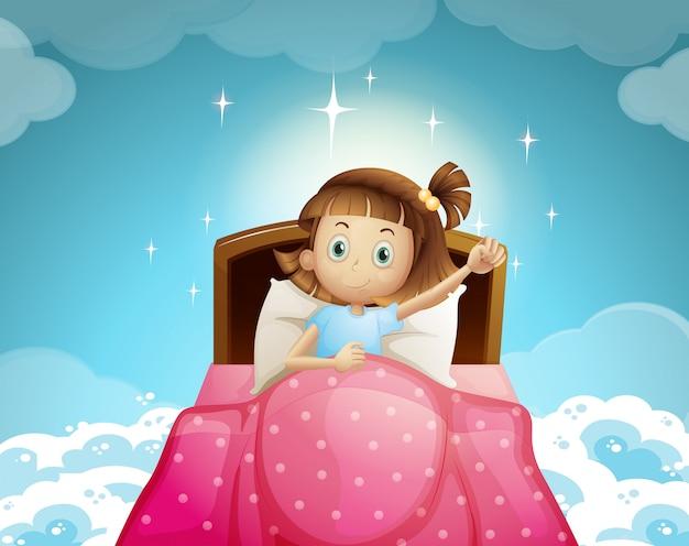 Menina dormindo na cama com o fundo do céu