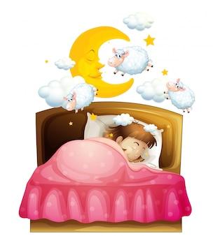Menina dormindo na cama, sonhando com ovelhas