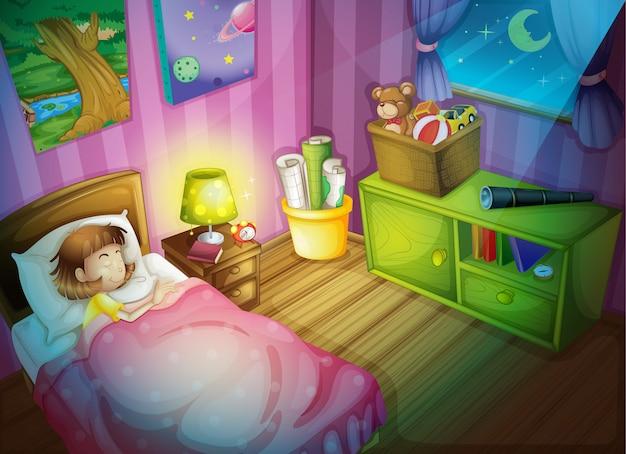 Menina dormindo no quarto à noite