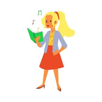 Menina dos desenhos animados cantando enquanto olha para o livro com notas musicais - cantora cantando uma música e sorrindo. ilustração em fundo branco.