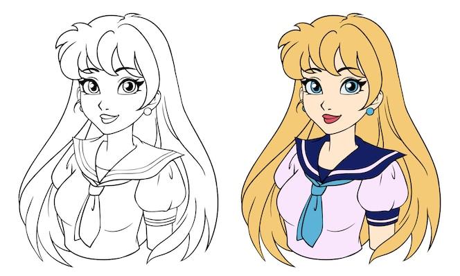 Menina dos desenhos animados com cabelo loiro em uniforme escolar japonês. mão ilustrações desenhadas. imagem de contorno para avatar, livro de colorir, jogos para celular etc.