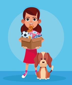 Menina dos desenhos animados com caixa de animais de doação e cachorro fofo sobre azul