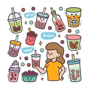 Menina dos desenhos animados com ilustração de doodle boba kawaii