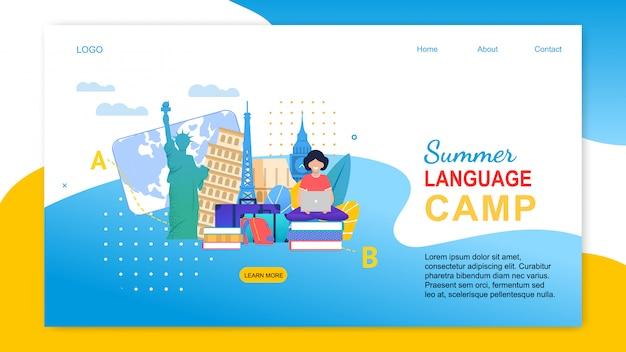 Menina dos desenhos animados com notebook aprender línguas no exterior página de destino
