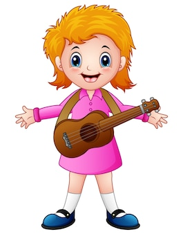 Menina dos desenhos animados com uma guitarra