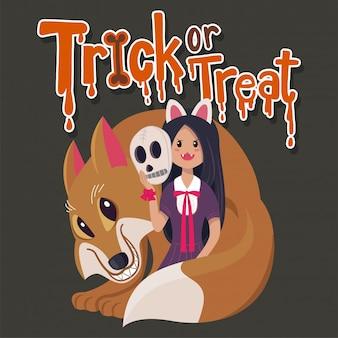 Menina dos desenhos animados de vetor e raposa coleção de halloween