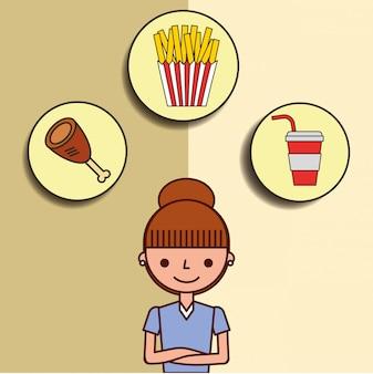 Menina dos desenhos animados e fast food refrigerante de frango batatas fritas