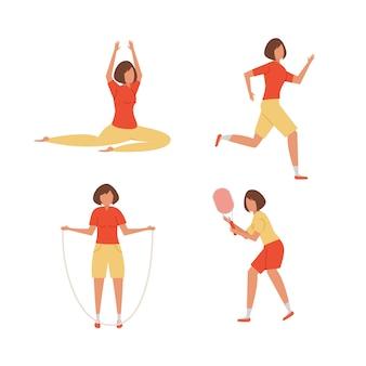 Menina dos desenhos animados em poses diferentes, fazendo esportes.