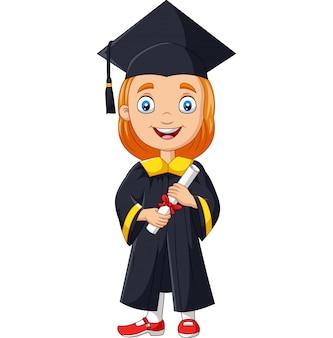 Menina dos desenhos animados em traje de formatura, detentor de um diploma