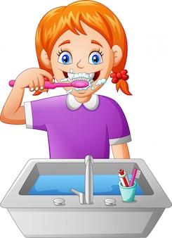 Menina dos desenhos animados, escovar os dentes