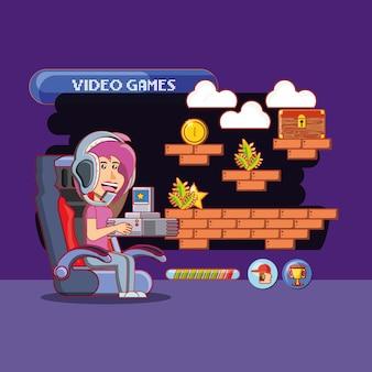 Menina dos desenhos animados, jogar video game com ícones relacionados ao redor sobre fundo roxo