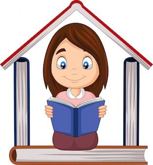 Menina dos desenhos animados, lendo um livro