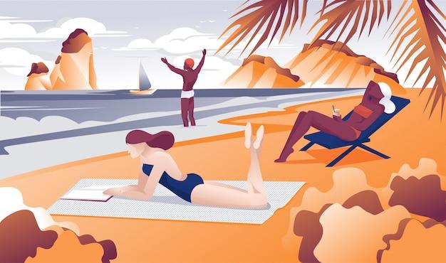 Menina dos desenhos animados, ler livro mulher tomando banho de sol na praia