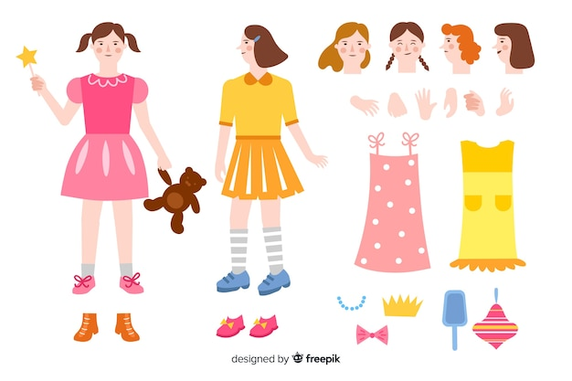 Menina dos desenhos animados para design de movimento