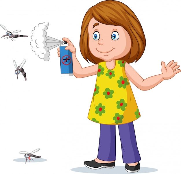 Menina dos desenhos animados, pulverizando um mosquito