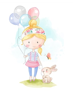 Menina dos desenhos animados, segurando balões e ilustração de coelho