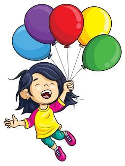 Menina dos desenhos animados segurando balões