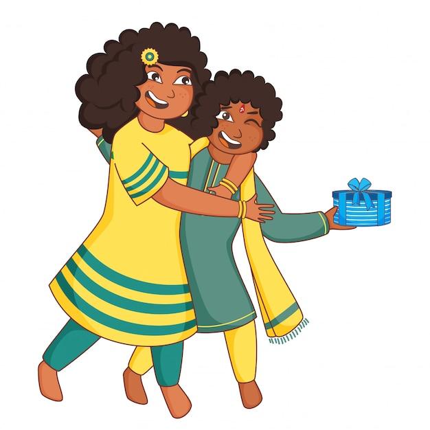 Menina dos desenhos animados tentando arrebatar a caixa de presente do menino em fundo branco.