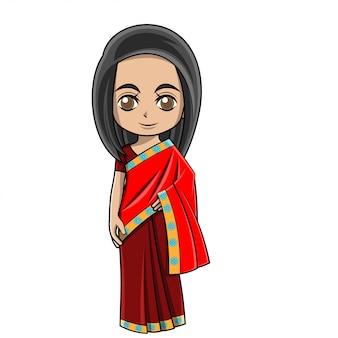 Menina dos desenhos animados, vestindo roupas indianas