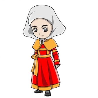 Menina dos desenhos animados, vestindo traje de frança