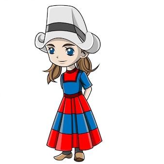 Menina dos desenhos animados, vestindo traje holandês