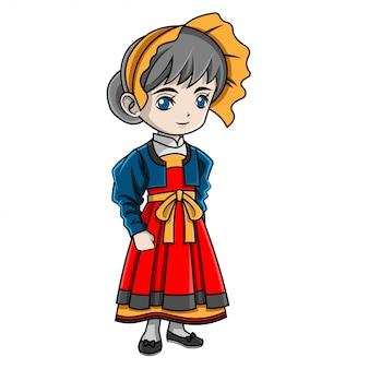 Menina dos desenhos animados, vestindo traje suíço