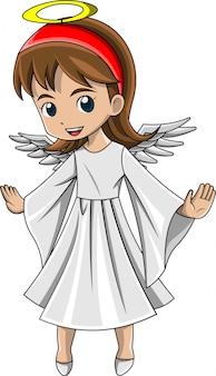 Menina dos desenhos animados, vestindo uma fantasia de natal