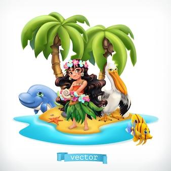 Menina e animais engraçados. ilha tropical