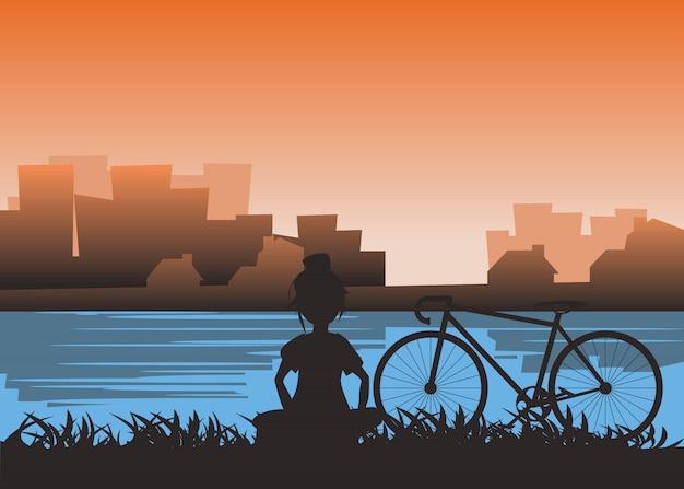 Menina e bicicleta na beira do rio em ilustração vetorial de cidade