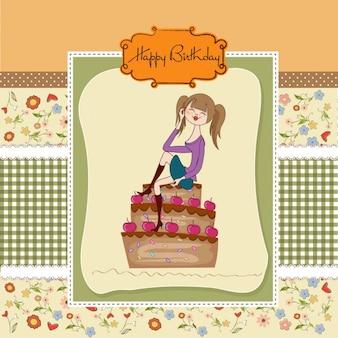 Menina e bolo de aniversário cartão