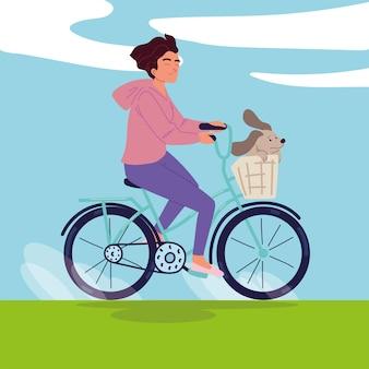 Menina e cachorro em bicicleta