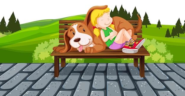 Menina e cachorro no banco do parque