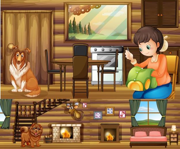 Menina e cachorros em diferentes cômodos da casa