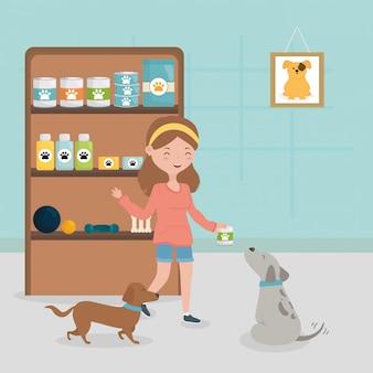 Menina e cães com animal de estimação prateleira medicina alimentar