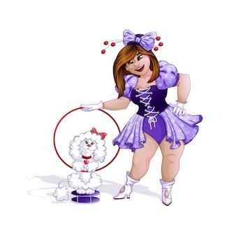 Menina e caniche do instrutor de circo.