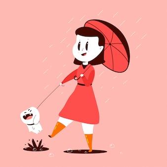 Menina e cão com um guarda-chuva sob a ilustração dos desenhos animados de chuva isolada no fundo.