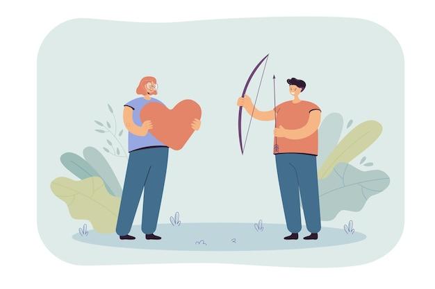 Menina e cara segurando um coração gigante, arco e flechas nas mãos. ilustração plana