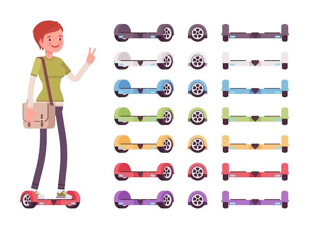 Menina e conjunto de giroscópios multicoloridos