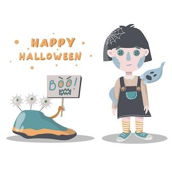 Menina e fantasma cartão de halloween