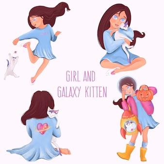 Menina e gatinho da galáxia. elementos isolados do vetor.