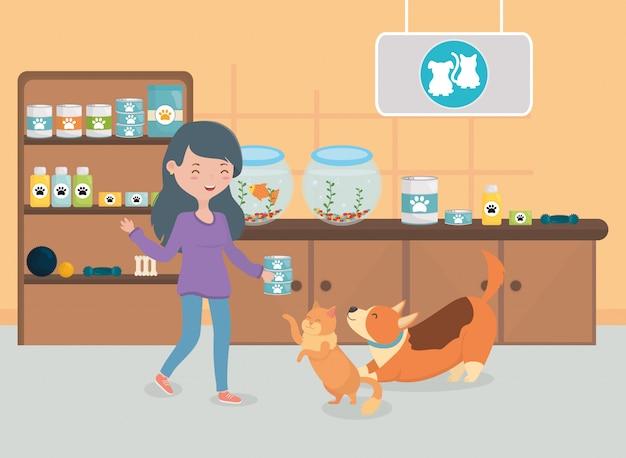 Menina e gato comida de cachorro sala veterinário