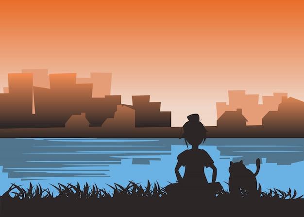 Menina e gato na beira do rio em ilustração vetorial de cidade