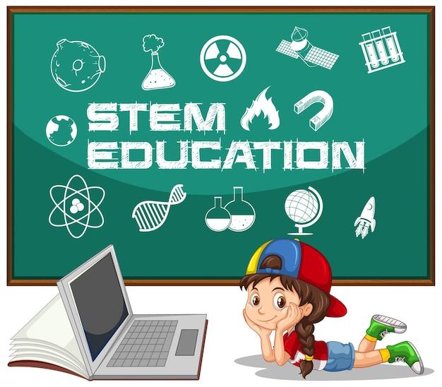 Menina e laptop com texto de educação no quadro-negro