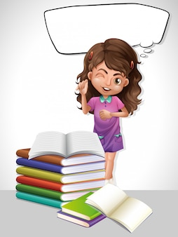 Menina e livro com modelo de bolha do discurso