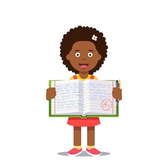 Menina e livro de trabalho aberto com nota a